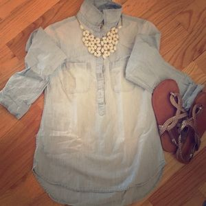 Acid washed jean tunic